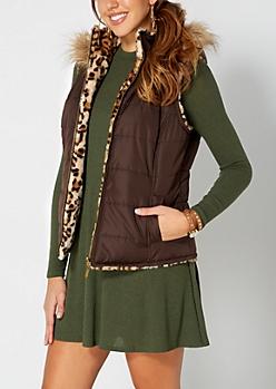 Brown Reversible Cheetah Puffer Vest