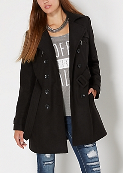Black Wool Blend Trench Coat
