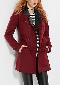 Burgundy Wool Blend Trench Coat