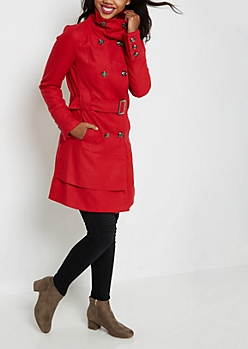 Red Long Belted Woolen Peacoat