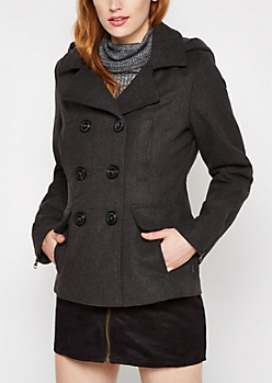 Charcoal Woolen Zip Sleeve Peacoat
