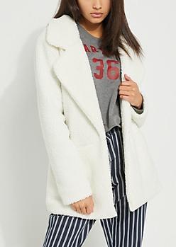 White Sherpa Blazer Jacket