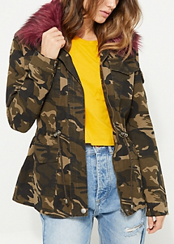Camo Burgundy Faux Fur Trimmed Anorak