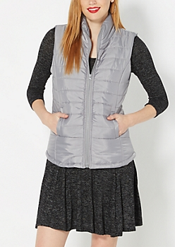 Gray Quilted Puffer Vest