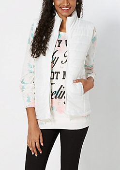 White Quilted Puffer Vest