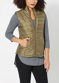 Dark Olive Quilted Puffer Vest