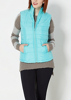 Light Blue Quilted Puffer Vest