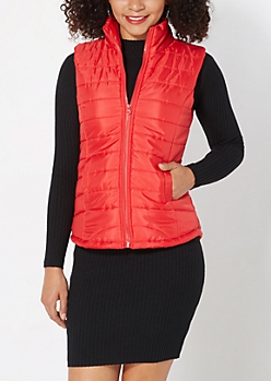 Red Quilted Puffer Vest