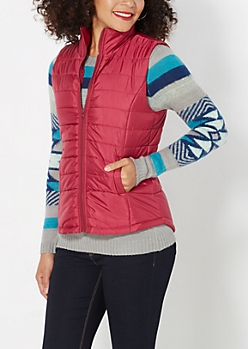 Burgundy Quilted Puffer Vest