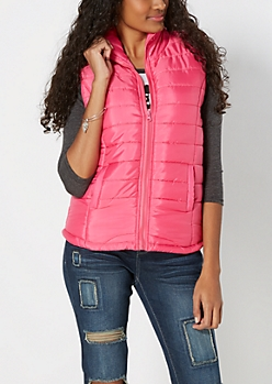 Fuchsia Quilted Puffer Vest