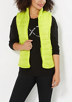 Neon Green Quilted Puffer Vest