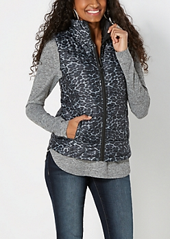 Gray Leopard Quilted Puffer Vest
