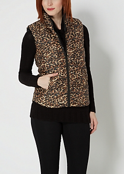 Brown Leopard Quilted Puffer Vest