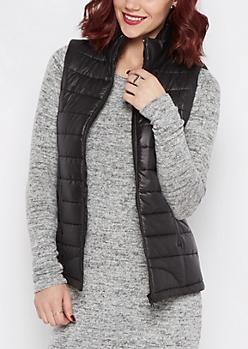 Black Packable Puffer Vest