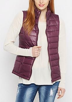 Plum Packable Puffer Vest