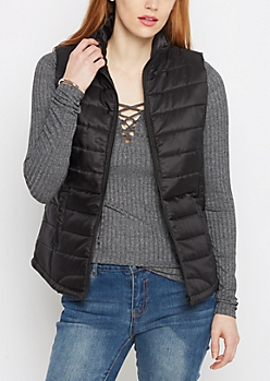 Black Mock Neck Puffer Vest