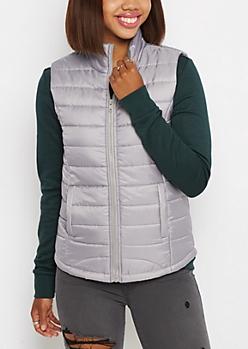 Gray Mock Neck Puffer Vest