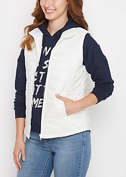 White Mock Neck Puffer Vest