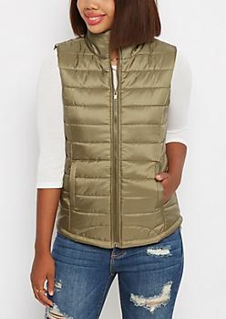 Olive Mock Neck Puffer Vest
