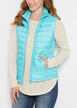 Light Blue Mock Neck Puffer Vest