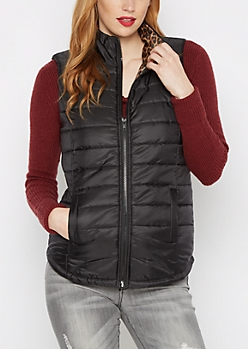 Leopard Lined Puffer Vest