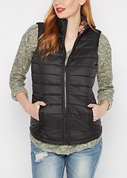 Floral Lined Puffer Vest