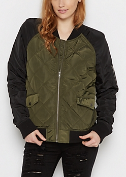 Olive Quilted Raglan Utility Bomber