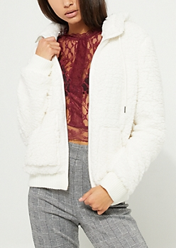 White Hooded Bomber Jacket