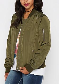 Olive Utility Puffer Bomber Jacket