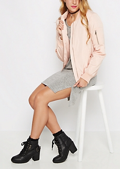 Pink Utility Puffer Bomber Jacket