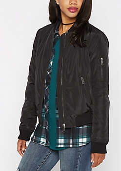 Black Zip Pocket Utility Bomber Jacket