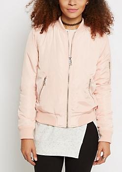 Pink Zip Pocket Utility Bomber Jacket