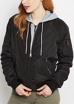 Layered Knit Bomber Jacket
