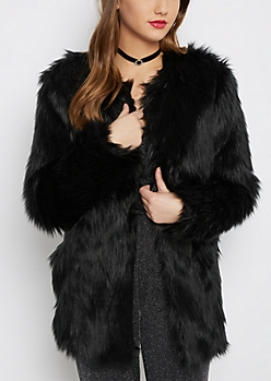 Black Diva Faux Fur Coat