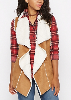 Cognac Cascading Sherpa Vest
