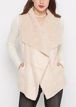 Soft Pink Cascading Sherpa Vest