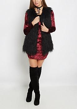 Black Shaggy Faux Fur Vest