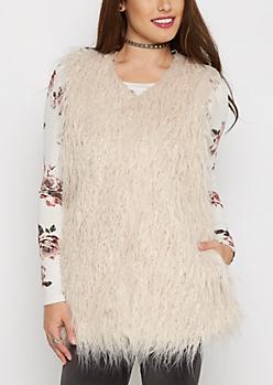 Pink Shaggy Faux Fur Vest