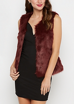 Burgundy Faux Fur Soft Vest