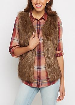 Tan Faux Fur Soft Vest