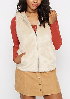 Ivory Faux Fur Hooded Vest