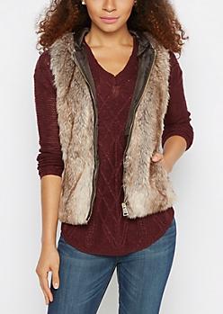 Tan Faux Fur Hooded Vest