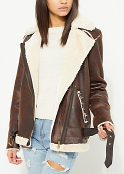 Brown Oversized Faux Suede Moto Jacket