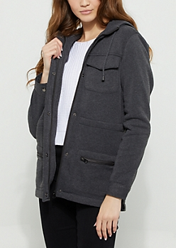 Charcoal Gray Fleece Hooded Anorak