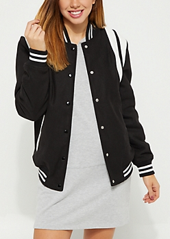 Black Striped Wool Varsity Jacket