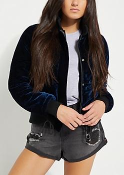 Navy Velvet Puffer Jacket