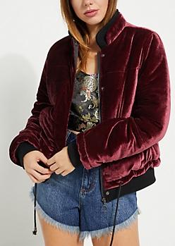 Burgundy Velvet Puffer Jacket