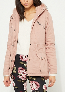 Light Pink Faux Fur Hooded Anorak