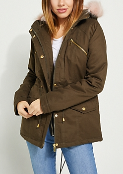 Olive Faux Fur Hooded Anorak