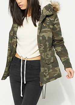 Camo Faux Fur Hooded Anorak